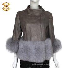 Revestimento de couro real curto Shorn de China com casaco de pele de raposa
