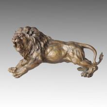 Animal Estatua León Realización Escultura De Bronce Tpal-036