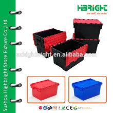 stackable plastic storage bin with lid