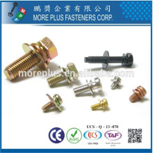 Feito em Taiwan Phillips Pozi Torx Indent Hex Washer Parafusos de cabeça de panela e Flat Spring Double Aranders Assemblado SEMS Parafusos