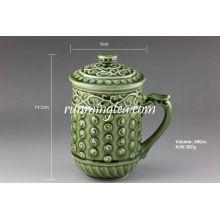 """""""Lebender Porzellan"""" grüner glücklicher Tee-Becher, 400cc / Becher"""