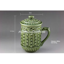 """Living Porcelain"" Green Lucky Tea Mug, 400cc/mug"