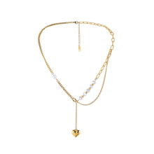 Fashion new special pearl heart ins stainless steel pendant trend necklace