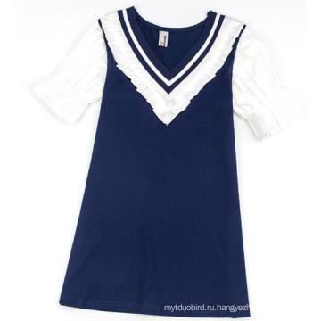 Девочка темно-Детское платье в модная одежда с Детская одежда