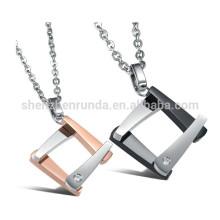 Cadeau de mode en acier inoxydable couples colliers pendentif carré en gros