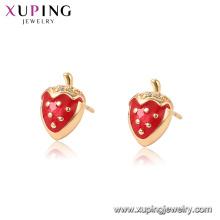 96946 xuping mode plaqué or boucles d'oreilles de fraise pour les femmes