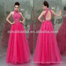 Sexy 2014 Fuchsia Full-Length Long Tulle Prom Dress High Neck Sleeveless Keyhole Back Applique Beaded A-Line Evening Gown NB0910