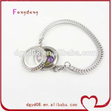 Acier inoxydable bracelet en cristal flottante