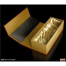 Venta al por mayor de la caja de regalo de la botella de vino sola de cartón negro con la inserción de la espuma