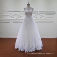 Vestidos de novia A-Line de encaje francés de longitud de piso