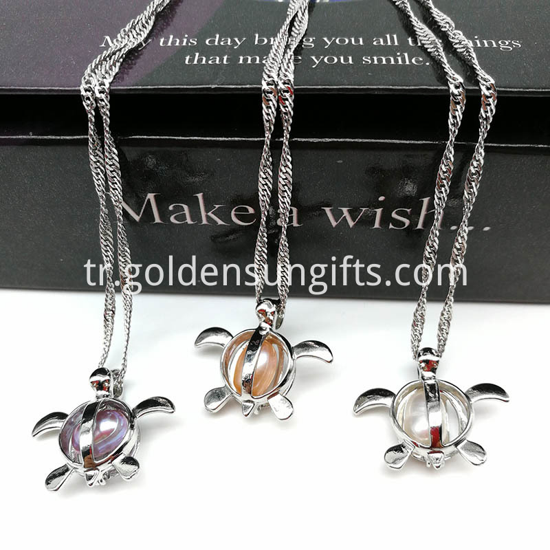 Turtle Cage Pendant with Water Wave Chain Necklace