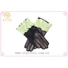 Luvas bonitas desenhadas da flor do vestido do dedo da forma projetada