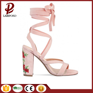 Peony embroidered high heel strappy female sandals