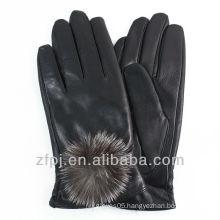 fashion rabbit fur ball leather glove