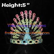 Pavo real de cristal coronas de concurso de belleza por mayor