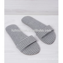 Cotton fabric open toe slipper slip on women indoor shoes stripe fabric bedroom slipper