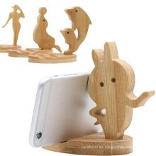 Soporte de teléfono de bambú de dibujos animados de diseño personalizado