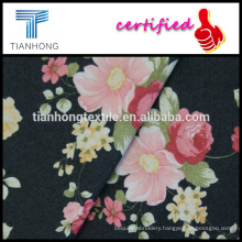 Denim look polyester cotton spandex printed flower pattern stretch fabric for women's pants