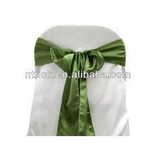 Quebra o salgueiro verde cetim faixa de cadeira, laços de cadeira, para o hotel do banquete de casamento