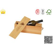 Holzweinbox mit Heißpräge- / Faltweinbox mit Glasbecher
