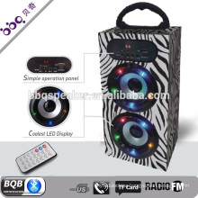 Black white led microphone party outdoor promotion bluetooth portable speaker