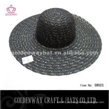 Señoras verano sombrero negro moda último diseño con alambre de oro