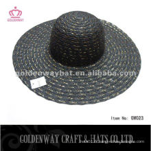 Ladies Summer hat conception de mode noire avec un fil d'or