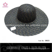 Ladies Summer hat black fashion latest design with gold wire