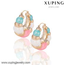 92128 promoção mulheres jóias preço de fábrica brincos de alta qualidade colorido banhado a ouro brincos de argola