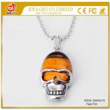 Tiger Eye Semi Precious Stone Skull Pendant Necklace