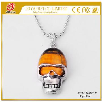 Tiger Eye Skull Gemstone Pendant Necklace con cadena de plata