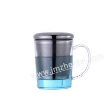 Ручная жаропрочная стеклянная чашка с колпачком из нержавеющей стали