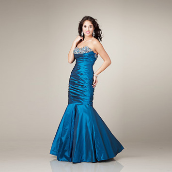 Elegan Mermaid Sayang garis leher strapless Lantai-panjang Satin Ruffled Beading Evening Dress