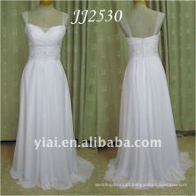 JJ2530 Newest Free Shipping Beaded Cap Sleeves Beach Chiffon Wedding Dress 2011