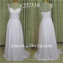 JJ2530 Mais novo Frete grátis Beaded Cap Sleeves Beach Chiffon Wedding Dress 2011