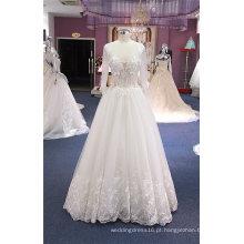 Fornecedor de China de vestido de noiva de praia sexy manga longa