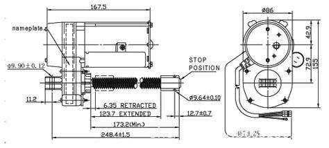 86YD1019 ac linear actuator / dimension