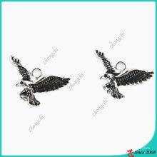 Черная эмаль Анти-серебро Орел Подвеска очарование (ПСН)