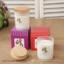 Ароматическая стеклянный Опарник свечки с деревянной крышкой в белом цвете