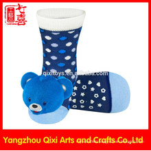 Novelty wholesale kid sock baby sock with animal bear toys head