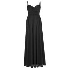 Kate Kasin Sexy Womens Cómodo correas Spaghetti V-cuello vestido de maternidad Maxi Negro KK000674-1
