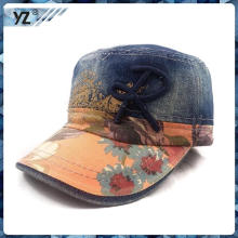 Small quantity accept Paypal plain wash cloth military cap for kid with great price