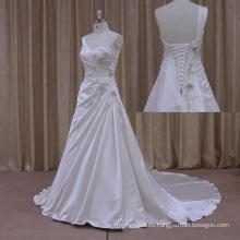 Vestido de boda del satén vneck barato sin respaldo bordado reluciente