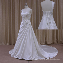 Shimmering Embroidery Backless Cheap Vneck Satin Wedding Dress
