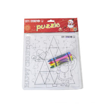 kids DIY coloring puzzle with crayon