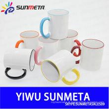 Diretamente Fábrica Atacado de alta qualidade de borda de alta qualidade e alça Color Sublimation Ceramic Mugs