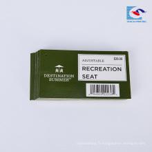 Le papier de siège fait sur commande de loisirs fait sur commande a imprimé des étiquettes de vente d'étiquette