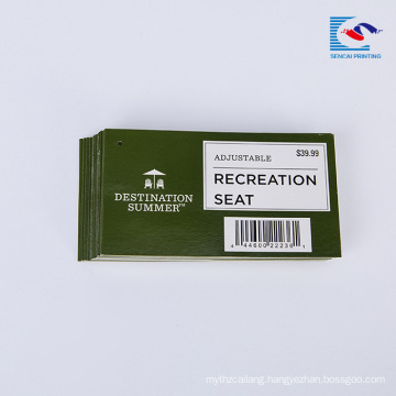 Custom printed handmade recreation seat paper hang Label sale tags