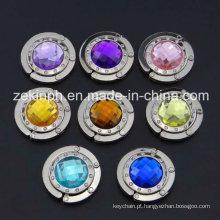 Alta qualidade zinco liga Bag cabide com strass coloridos grandes para presentes da lembrança