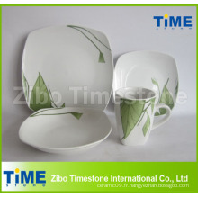 Set de dîner décalé en forme de carré en forme de porcelaine